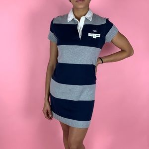Lacoste Polo Shirt Minj Dress Rugby Stripe Cotton